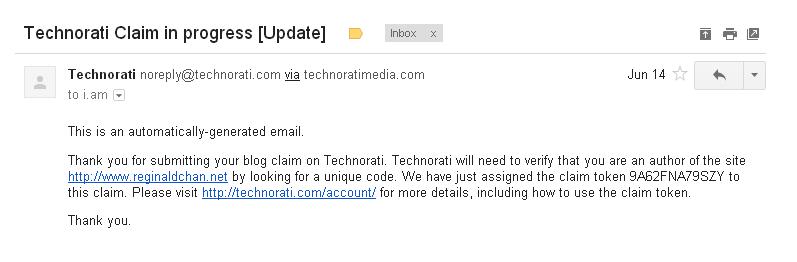 Technorati claim email