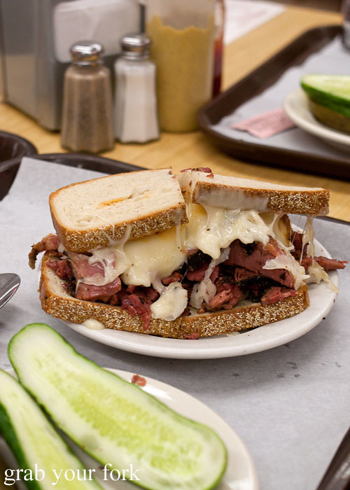 reuben corned beef sauerkraut pickle at katz's deli nyc new york usa jewish food lower east side les