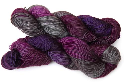 Luxury merino sock yarn in 'velvet underground' colourway
