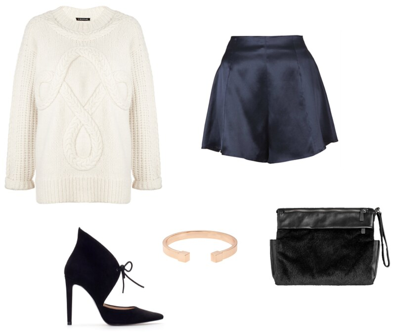 Whistles placed cable knit Topshop Boutique silk shorts And Other Stories fur clutch