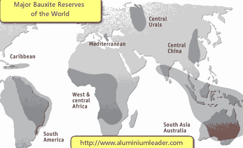 map-bauxite reserves of the world Aluminium industry