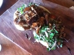Fried shiitakes with lime, pepper & greens