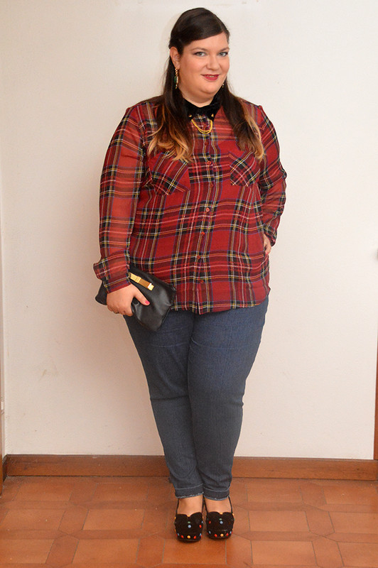 outfit tartan e denim5