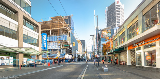 Panorama shot looking north on Granville Street.