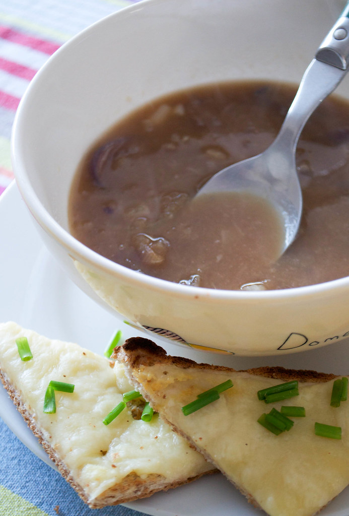 roasted onion soup with cheese on toast