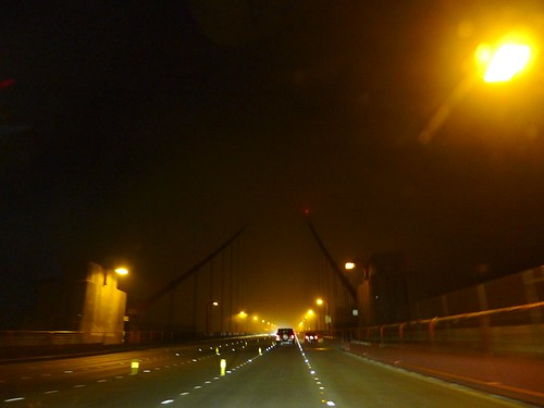 crossing golden gate by night