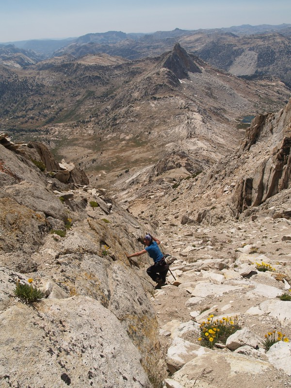 Descending the steep, loose, southwest slope of Matterhorn Peak