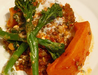 Broccoli with Creamed Lentils and Butternut Squash