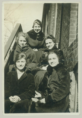 Five girls on the steps