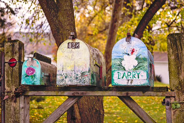 Cheerful mailboxes in Orwell, Vermont