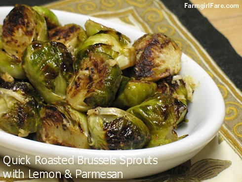 Quick and easy roasted brussels sprouts with lemon and parmesan - FarmgirlFare.com