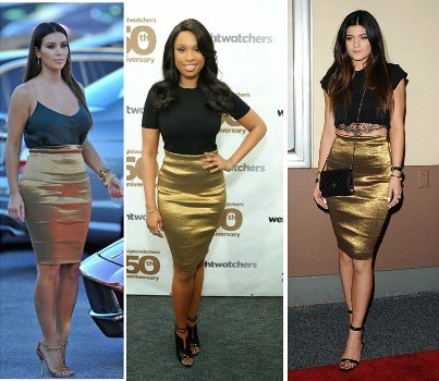 Who wore Donna Karan's Metallic Foldover Stretch Pencil Skirt better?