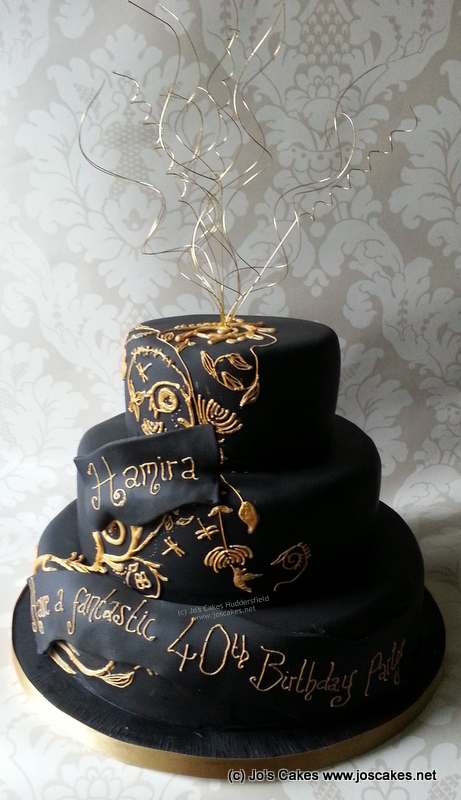 Three Tier Black And Gold 40th Birthday Cake