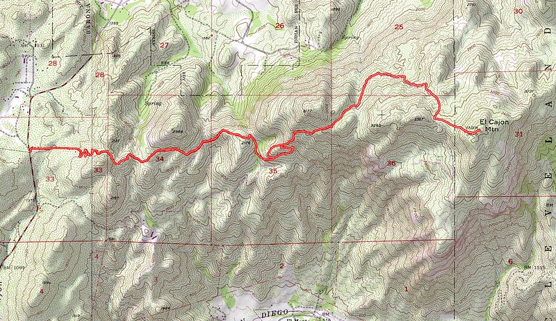 El Cajon Mountain Trail Topographic Map