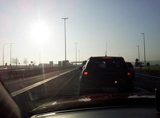 Bouchon sur l'autoroute à la frontière Belgique / Luxembourg