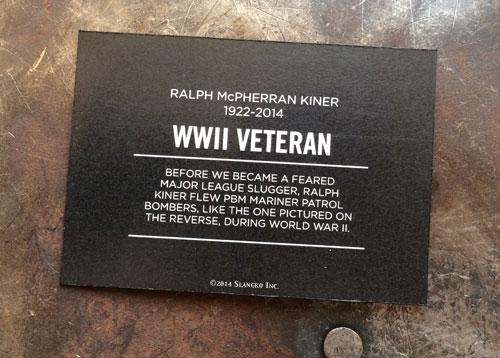 2014 SlangKo Ralph Kiner WWII Veteran back