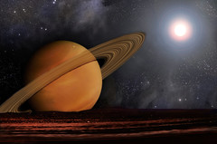 Bright Sun and Planet with Rings Astronomy Fantasy