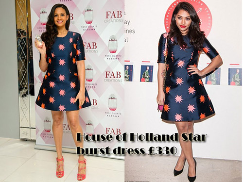 Who wore the House of Holland Star burst dress better? Alesha Dixon or Vanessa White