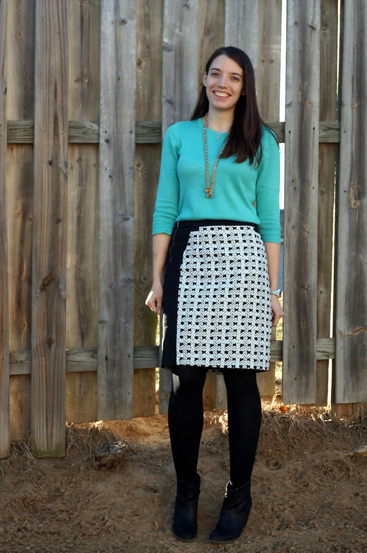 Merona aqua sweater and JCPenney nautical rope skirt