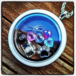My #OrigamiOwl #livinglocket is already growing! It now contains the dogs birthstones (2 double as the humans as well), paw, knitting, camera and 8ball. #love #jewelry #personalized