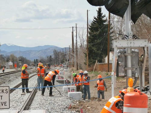 Photo of Gold Line track crew west of Olde Town Arvada