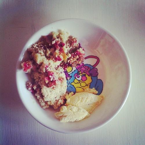 Dessert gourmand crumble pommes framboises du jardin avec glace vanille.
