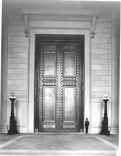 Photograph of the National Archives Building Constitution Avenue Entrance with Bronze Doors Closed, 06/13/1936