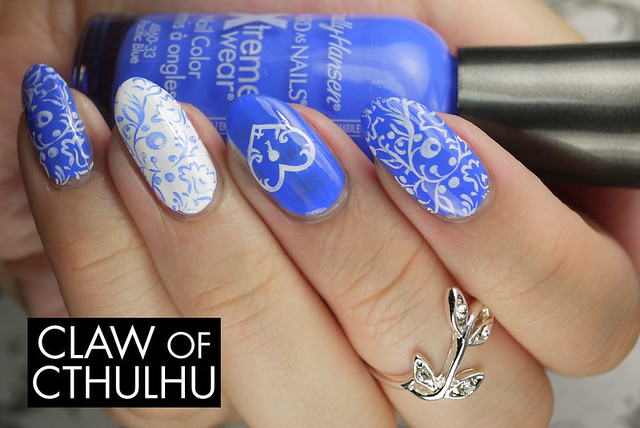Sally Hansen Pacific Blue Nail Art