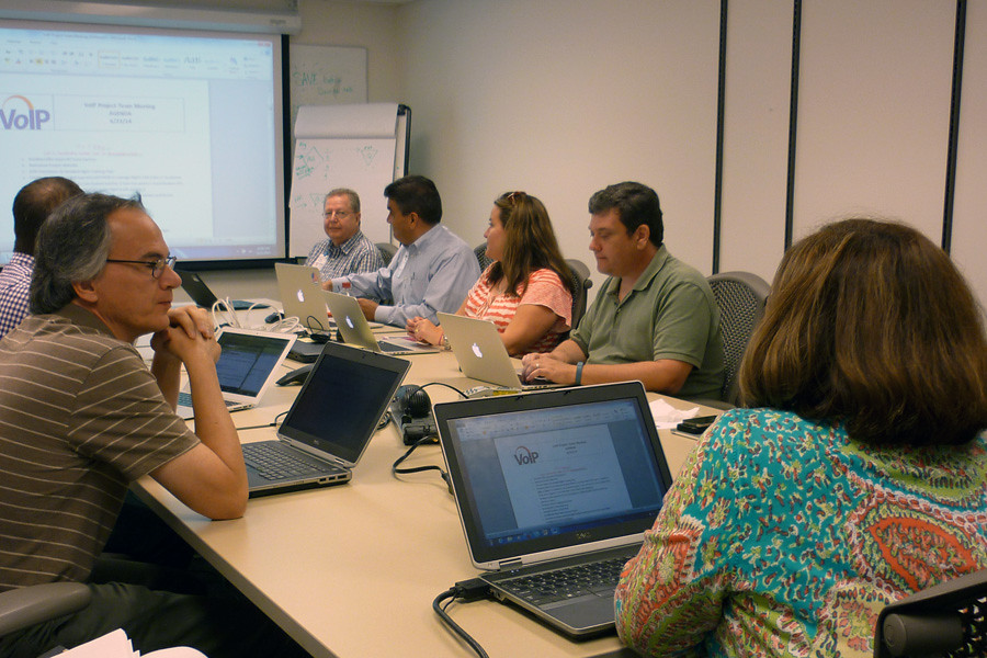 July 2, 2014 - The VoIP Project Team does a final run-through of the first cutover.