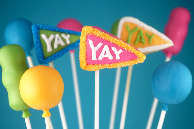 YAY Pennant Cake Pops