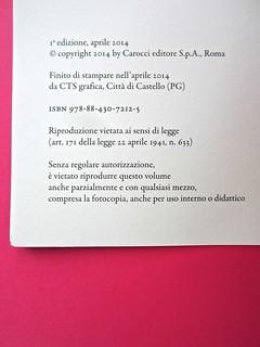Città della scienza; vol. 1, 2, 3, 4. Carocci editore 2014. Progetto Grafico di Falcinelli & Co. Colophon / verso del frontespizio: a pag. 4, vol. 2 (part.) 1