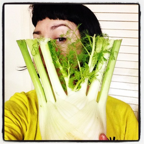 Self portrait with fennel... This is some seriously large fennel from our veggie box!!