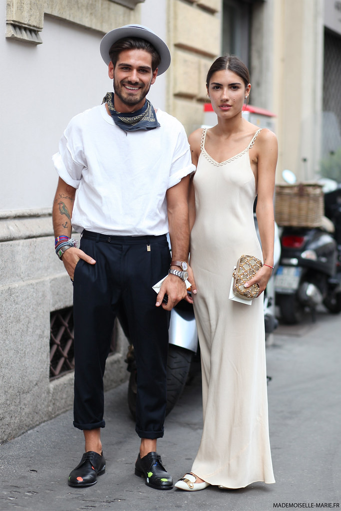Giotto Calendoli and Patricia Manfield at Milan fashion week menswear