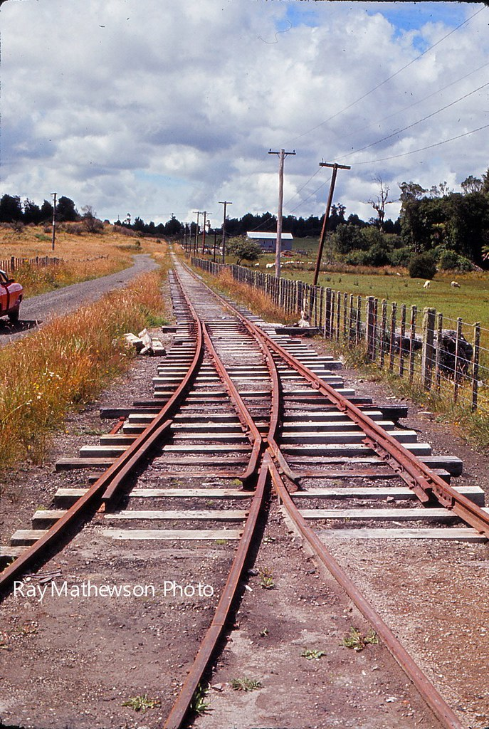 Points at siding to railcar shed Mamaku Feb 1971