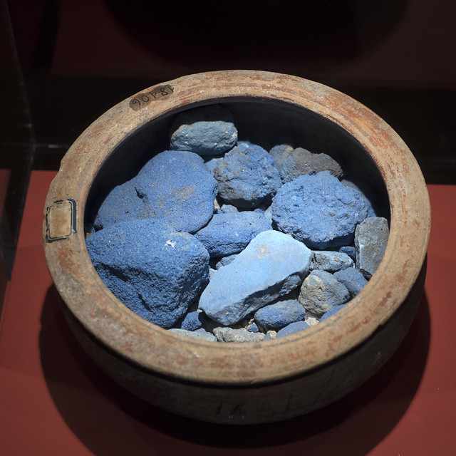Cup containing Egyptian Blue pigment from Pompeii