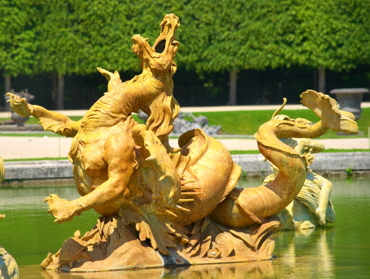Sea monster sculpture in the Gardens of Versailles. Credit Gaudry daniel