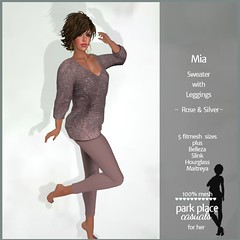 [PP Casuals] Mia Fall Sweater and Leggings - Rose and Silver