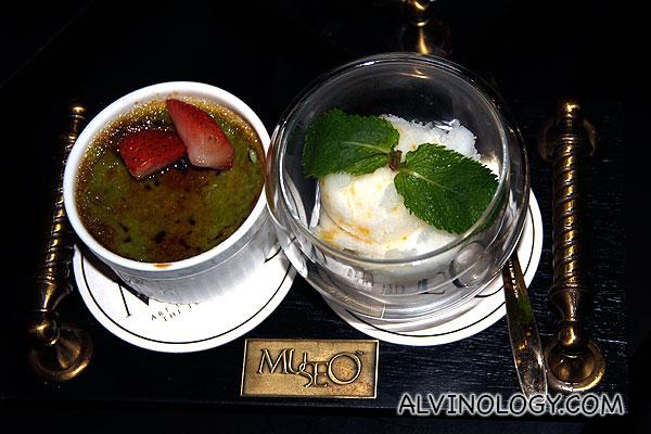 Green Tea Creme Brûlée (Classic egg custard with brittle caramel top, served with yuzu gelato) - S$12