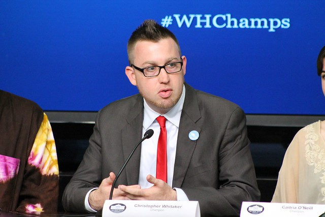 Christopher Whitaker speaking at the White House Champions of Change event