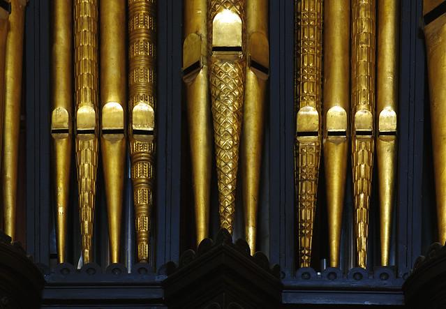 Tewkesbury, Gloucestershire, abbey church, organ, detail