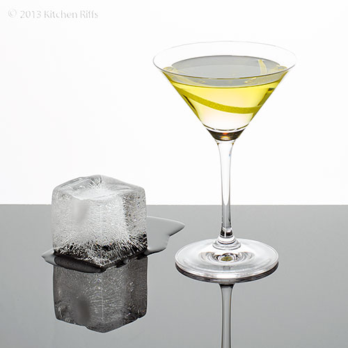 Alaska Cocktail with ice cube 'glacier'