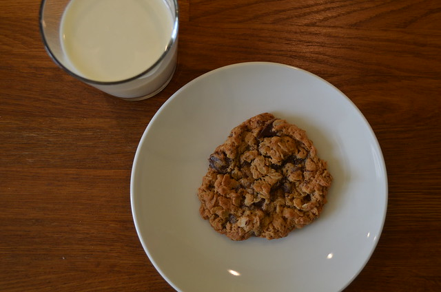 Peanut Butter oatmeal chocolate chip cookie and milk