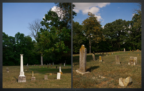 blue sky tree cemetery clouds diptych adams headstone indiana mounthebroncemetery