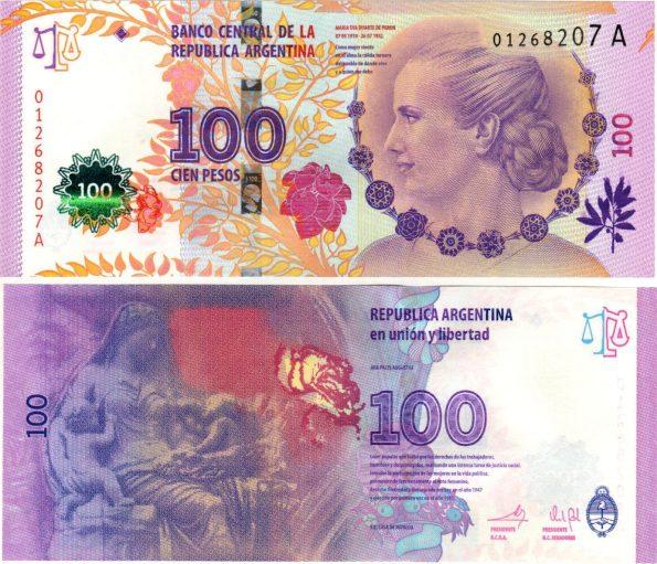 100 Pesos Argentína 2013, Evita Peron