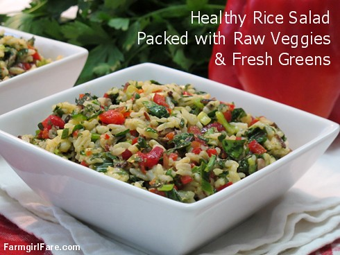 Healthy rice salad packed with raw veggies and fresh greens - FarmgirlFare.com