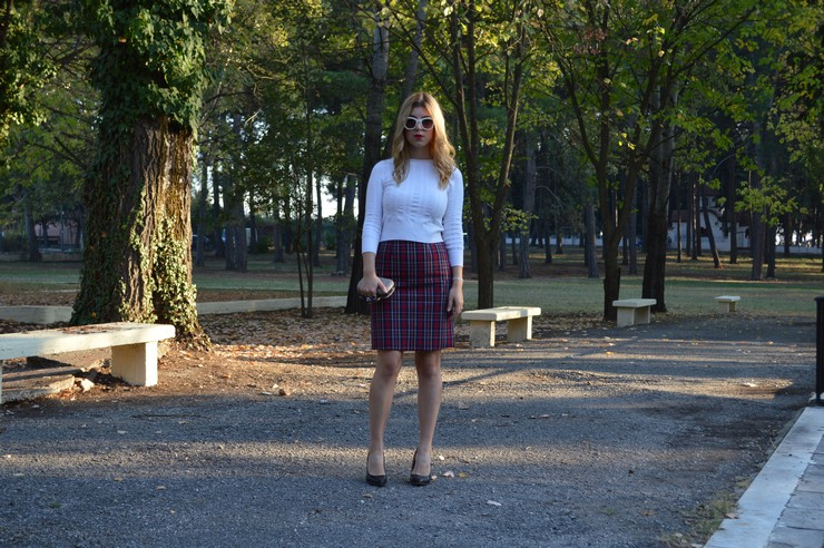 check skirt white top 13