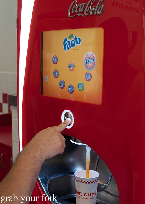 soft drink dispenser soda fountain Five Guys burgers fast food Kansas City Ward Parkway