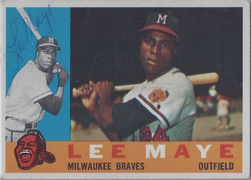 1960 Topps - Lee Maye #246 (Outfielder) (b: 11 Dec 1934 - d: 17 Jul 2002 at age 67) - Autographed Baseball Card (Milwaukee Braves)