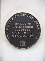 Photo of Yorkshire Gentlemen's Cricket Club black plaque