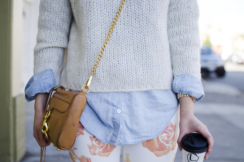 max&co sweater, forever21 chambray top, rebecca minkoff mini mac, san francisco style blog